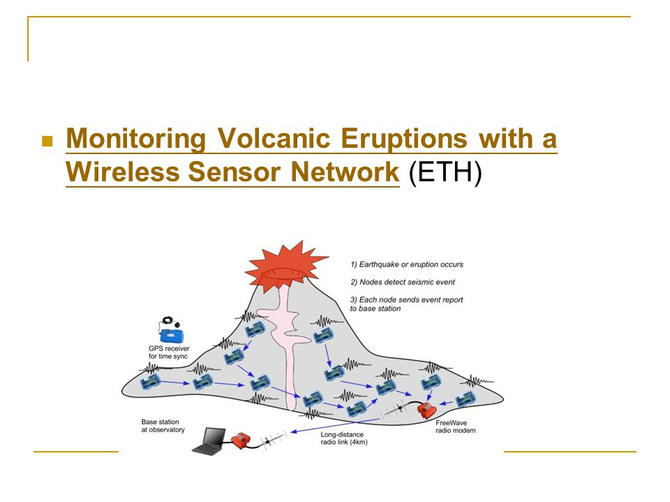 Monitoring Volcanic Eruptions with a Wireless Sensor Network (ETH) Monitoring Volcanic Eruptions with a Wireless Sensor Network