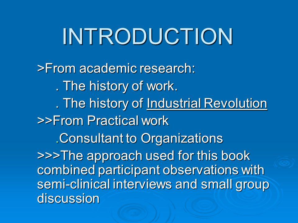 INTRODUCTION INTRODUCTION >From academic research:.