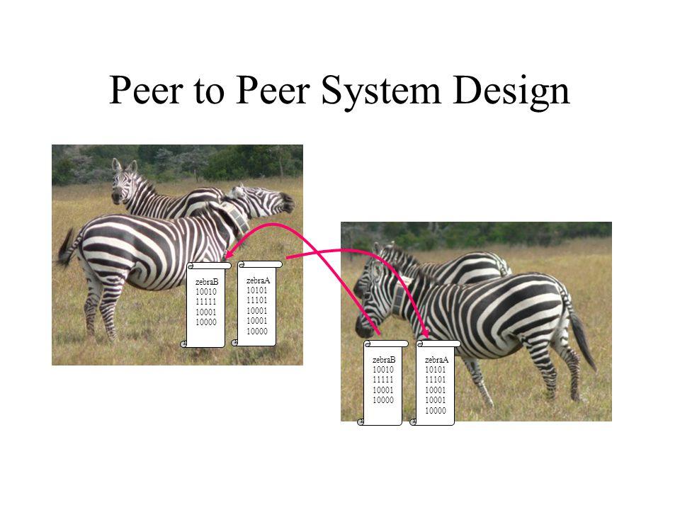 Peer to Peer System Design zebraA 10101 11101 10001 10000 zebraB 10010 11111 10001 10000 zebraA 10101 11101 10001 10000 zebraB 10010 11111 10001 10000