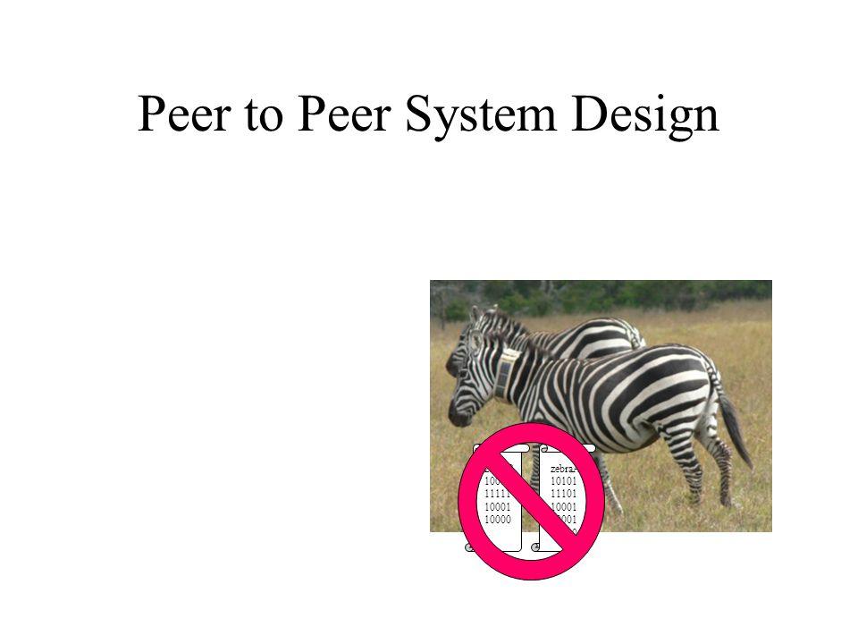 Peer to Peer System Design zebraB 10010 11111 10001 10000 zebraA 10101 11101 10001 10000