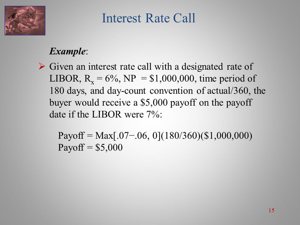 15 Interest Rate Call Example:  Given an interest rate call with a designated rate of LIBOR, R x = 6%, NP = $1,000,000, time period of 180 days, and