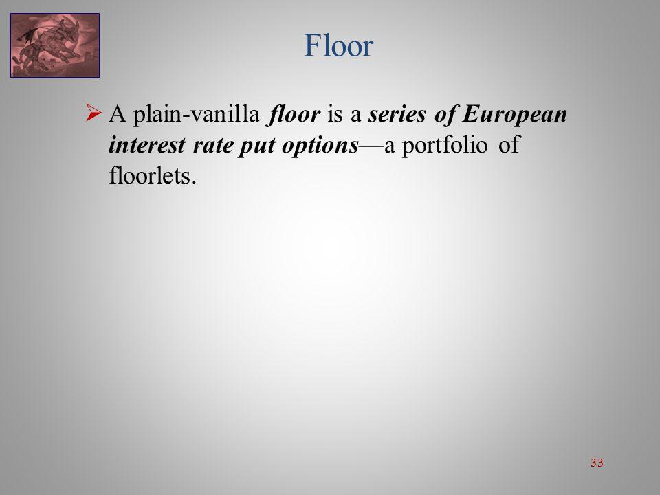 33 Floor  A plain-vanilla floor is a series of European interest rate put options—a portfolio of floorlets.