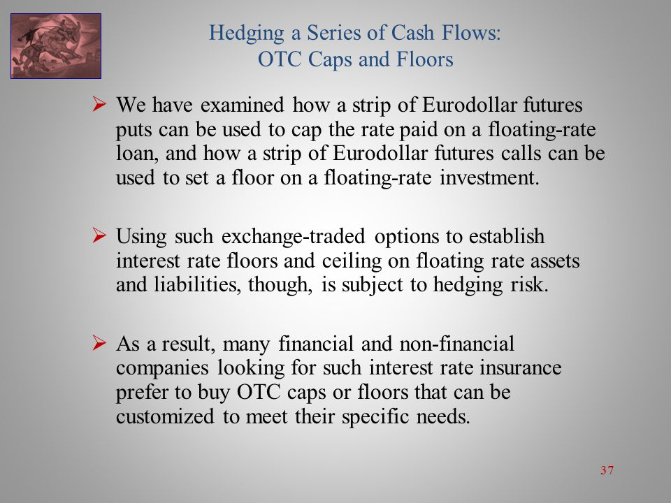 37 Hedging a Series of Cash Flows: OTC Caps and Floors  We have examined how a strip of Eurodollar futures puts can be used to cap the rate paid on a