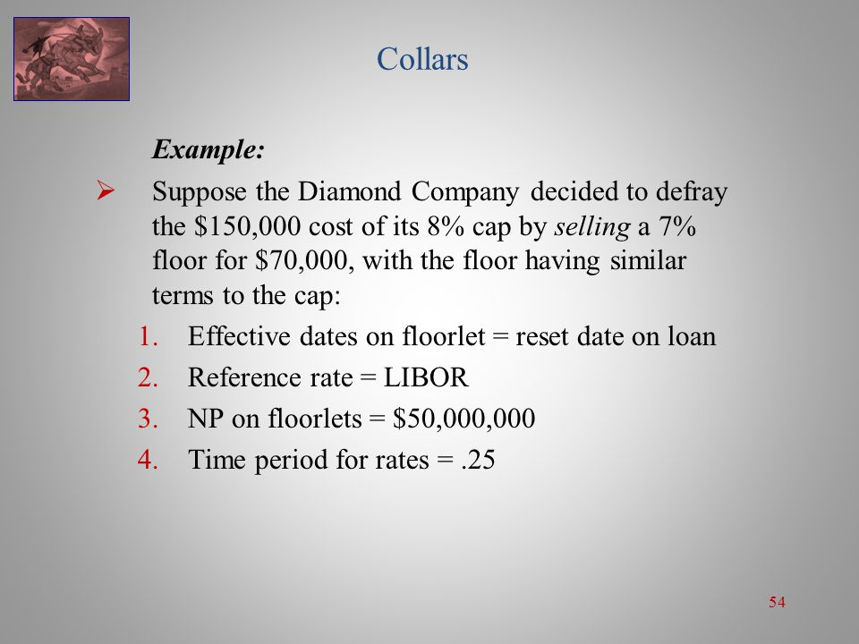 54 Collars Example:  Suppose the Diamond Company decided to defray the $150,000 cost of its 8% cap by selling a 7% floor for $70,000, with the floor
