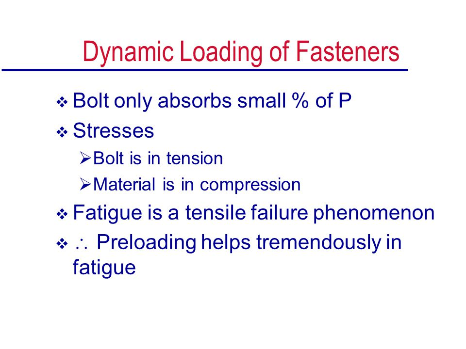 Dynamic Loading of Fasteners  Bolt only absorbs small % of P  Stresses  Bolt is in tension  Material is in compression  Fatigue is a tensile fail