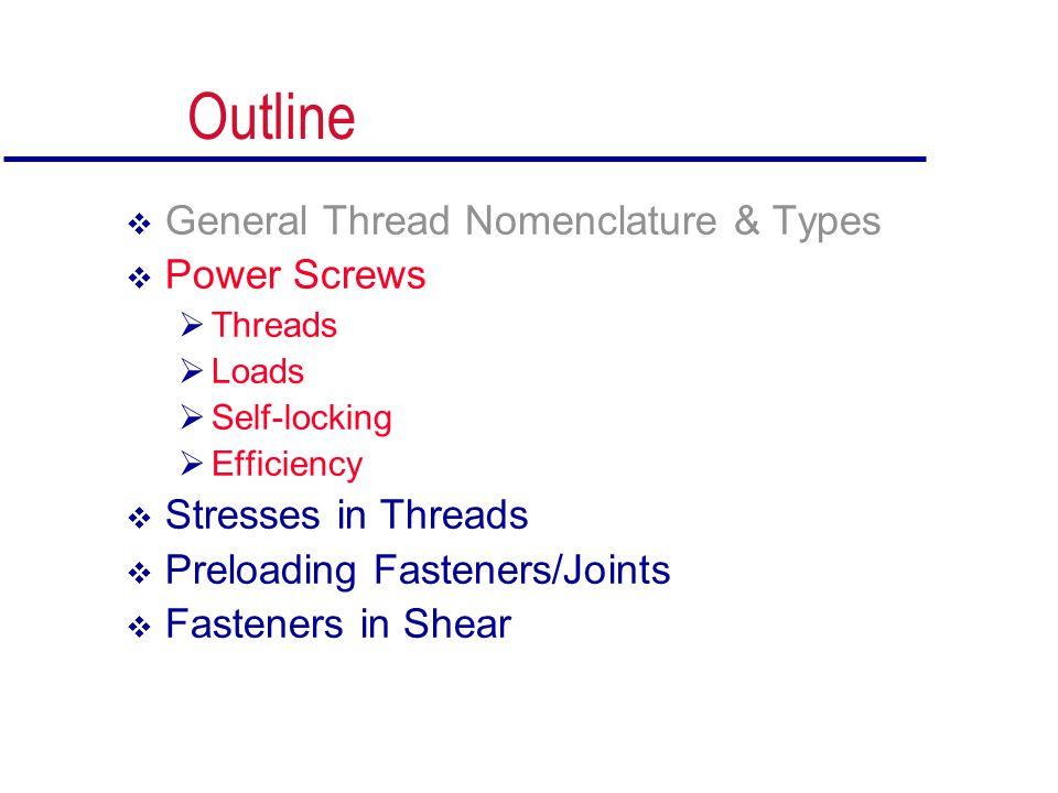 Outline  General Thread Nomenclature & Types  Power Screws  Threads  Loads  Self-locking  Efficiency  Stresses in Threads  Preloading Fastener