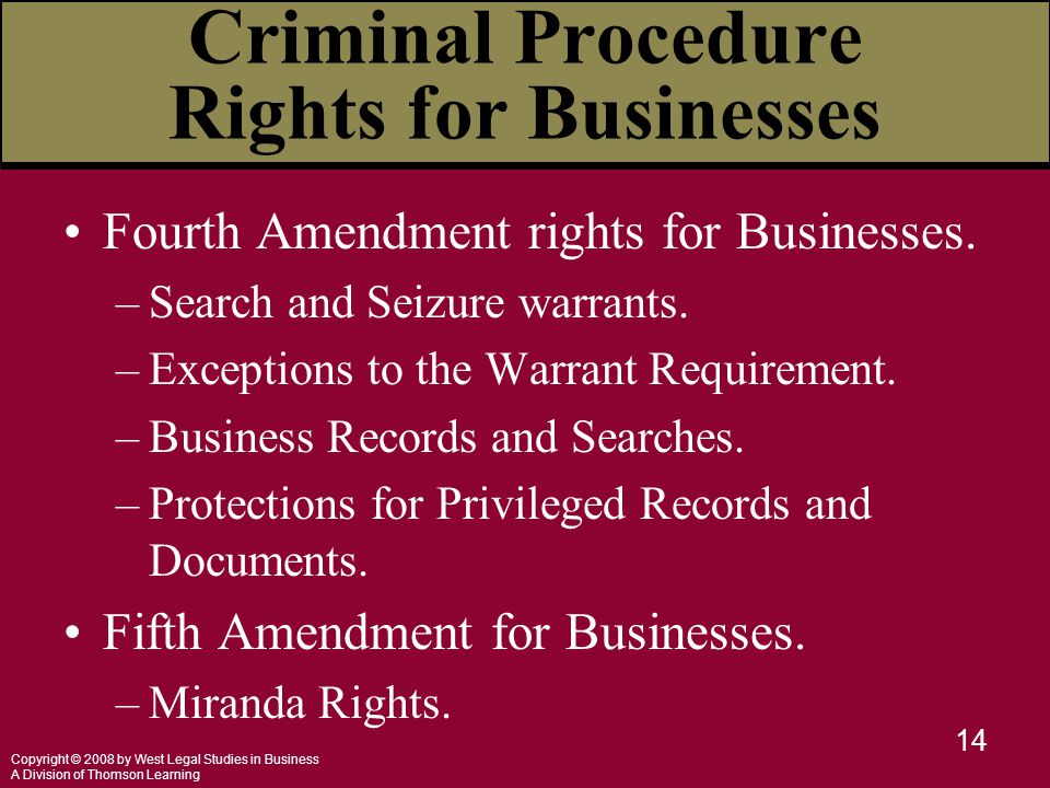 Copyright © 2008 by West Legal Studies in Business A Division of Thomson Learning 14 Criminal Procedure Rights for Businesses Fourth Amendment rights