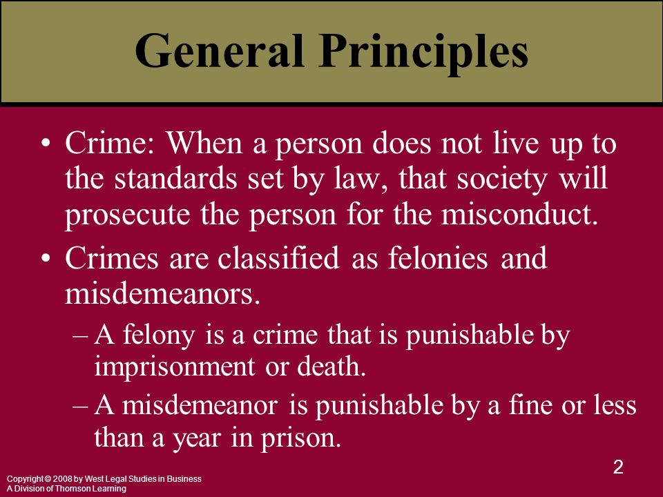 Copyright © 2008 by West Legal Studies in Business A Division of Thomson Learning 2 General Principles Crime: When a person does not live up to the st
