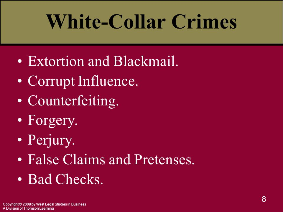 Copyright © 2008 by West Legal Studies in Business A Division of Thomson Learning 9 White-Collar Crimes Credit Card Crimes.