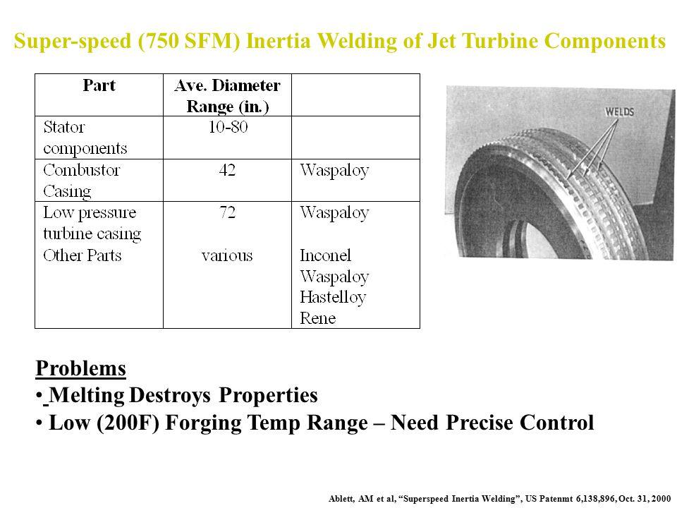 """Super-speed (750 SFM) Inertia Welding of Jet Turbine Components Ablett, AM et al, """"Superspeed Inertia Welding"""", US Patenmt 6,138,896, Oct. 31, 2000 Pr"""