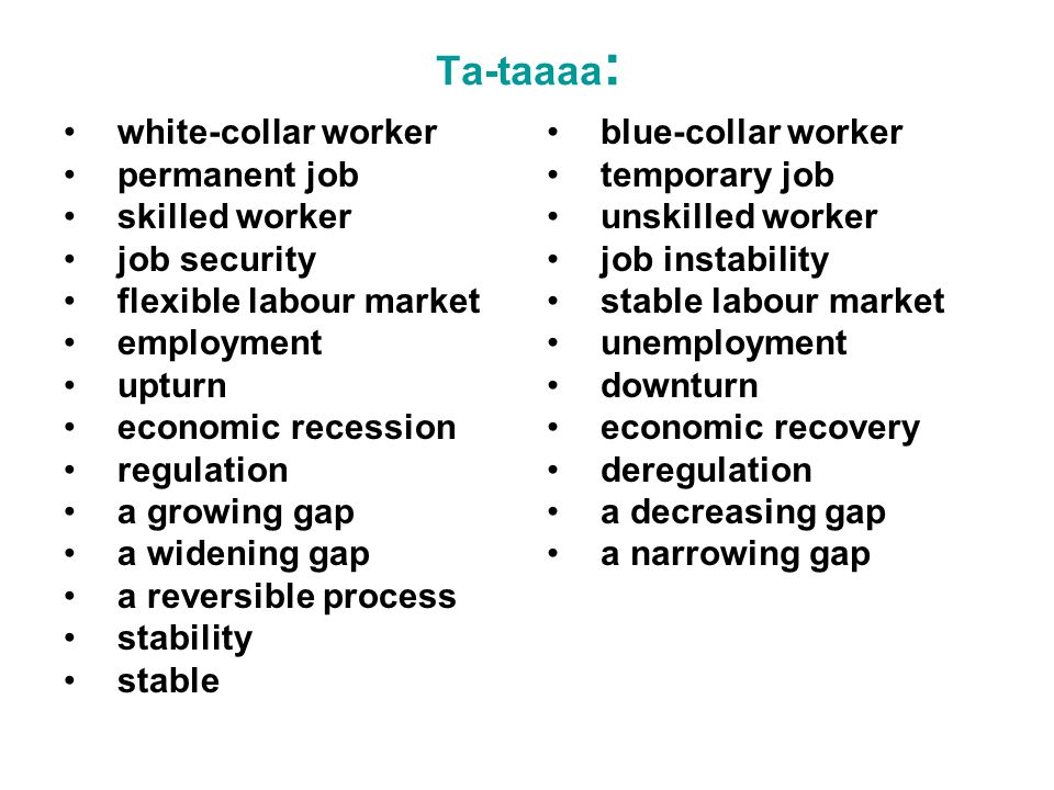 Ta-taaaa : white-collar worker permanent job skilled worker job security flexible labour market employment upturn economic recession regulation a growing gap a widening gap a reversible process stability stable blue-collar worker temporary job unskilled worker job instability stable labour market unemployment downturn economic recovery deregulation a decreasing gap a narrowing gap