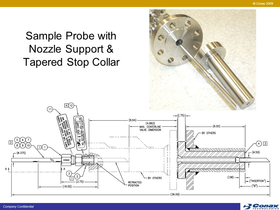 © Conax 2009 Company Confidential Sample Probe with Nozzle Support & Tapered Stop Collar