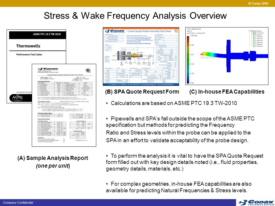 © Conax 2009 Company Confidential Stress & Wake Frequency Analysis Overview Calculations are based on ASME PTC 19.3 TW-2010 Pipewells and SPA's fall outside the scope of the ASME PTC specification but methods for predicting the Frequency Ratio and Stress levels within the probe can be applied to the SPA in an effort to validate acceptability of the probe design.