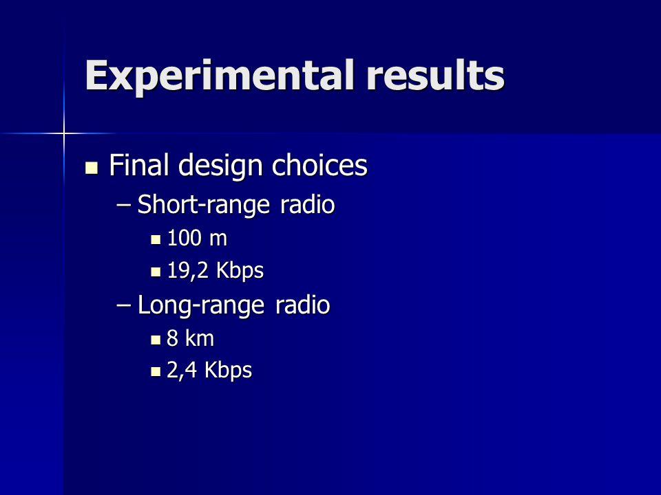 Experimental results Final design choices Final design choices –Short-range radio 100 m 100 m 19,2 Kbps 19,2 Kbps –Long-range radio 8 km 8 km 2,4 Kbps 2,4 Kbps