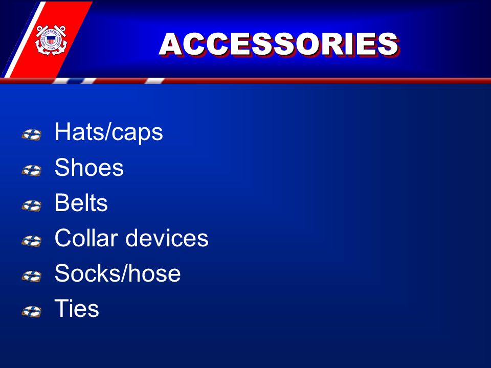 ACCESSORIESACCESSORIES Hats/caps Shoes Belts Collar devices Socks/hose Ties
