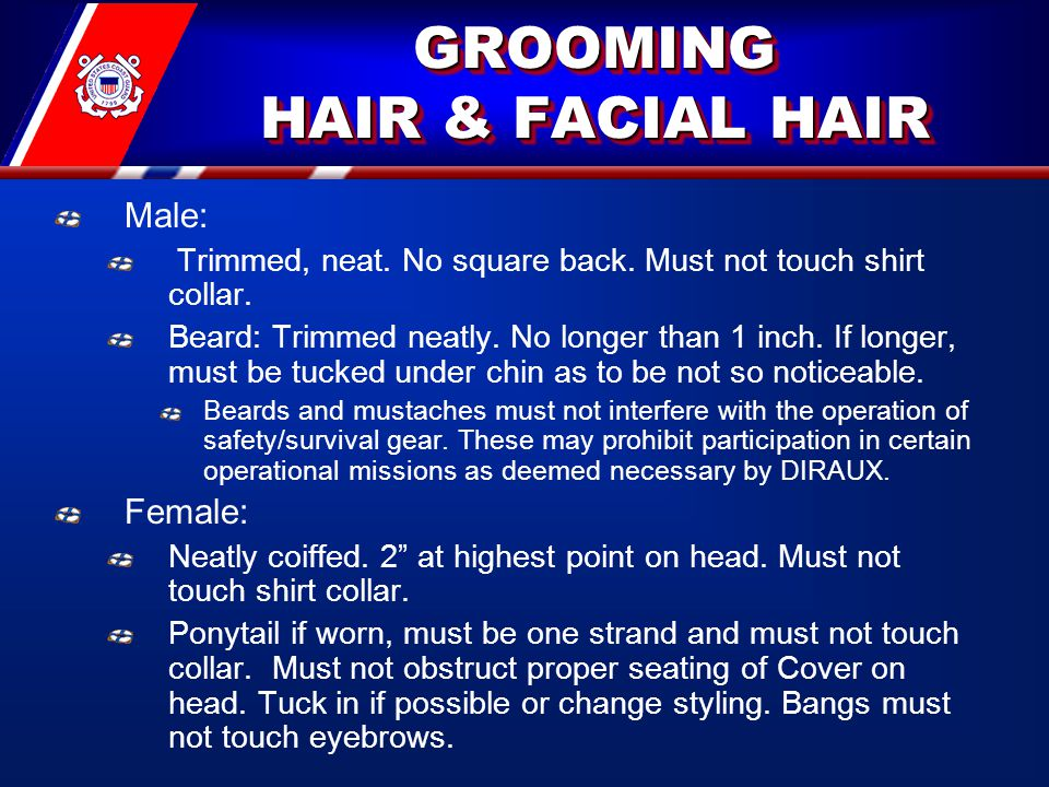 GROOMING HAIR & FACIAL HAIR Male: Trimmed, neat.No square back.