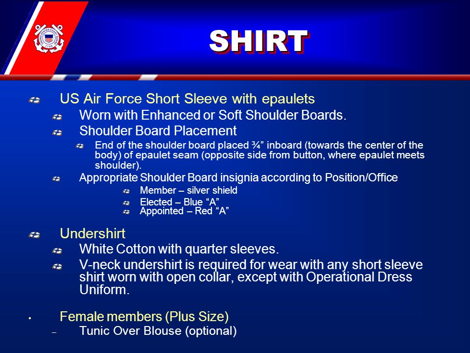 SHIRTSHIRT US Air Force Short Sleeve with epaulets Worn with Enhanced or Soft Shoulder Boards.