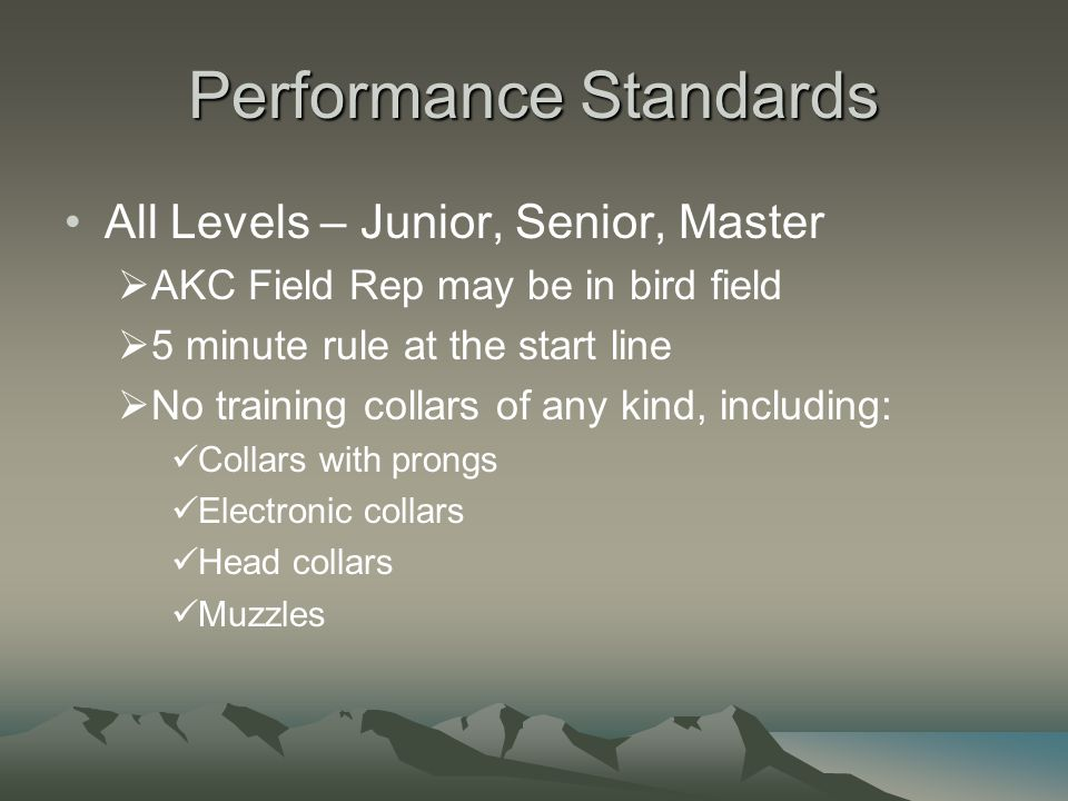 Performance Standards All Levels – Junior, Senior, Master  AKC Field Rep may be in bird field  5 minute rule at the start line  No training collars of any kind, including: Collars with prongs Electronic collars Head collars Muzzles