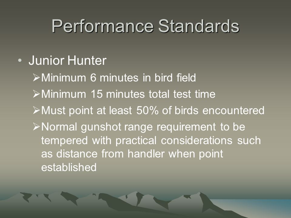 Performance Standards Junior Hunter  Minimum 6 minutes in bird field  Minimum 15 minutes total test time  Must point at least 50% of birds encountered  Normal gunshot range requirement to be tempered with practical considerations such as distance from handler when point established