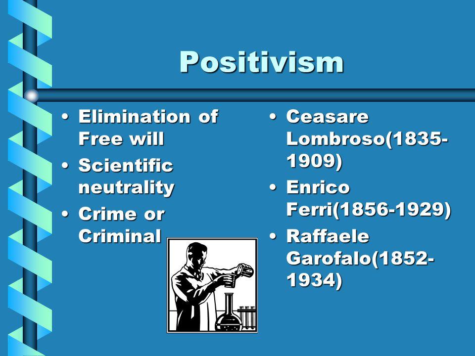 Positivism Elimination of Free willElimination of Free will Scientific neutralityScientific neutrality Crime or CriminalCrime or Criminal Ceasare Lomb