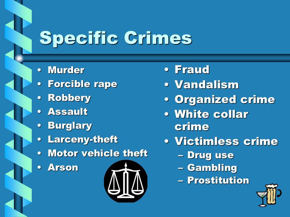 Specific Crimes MurderMurder Forcible rapeForcible rape RobberyRobbery AssaultAssault BurglaryBurglary Larceny-theftLarceny-theft Motor vehicle theftM