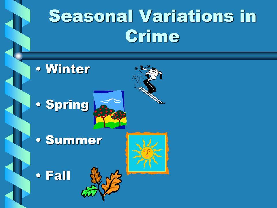 Seasonal Variations in Crime WinterWinter SpringSpring SummerSummer FallFall
