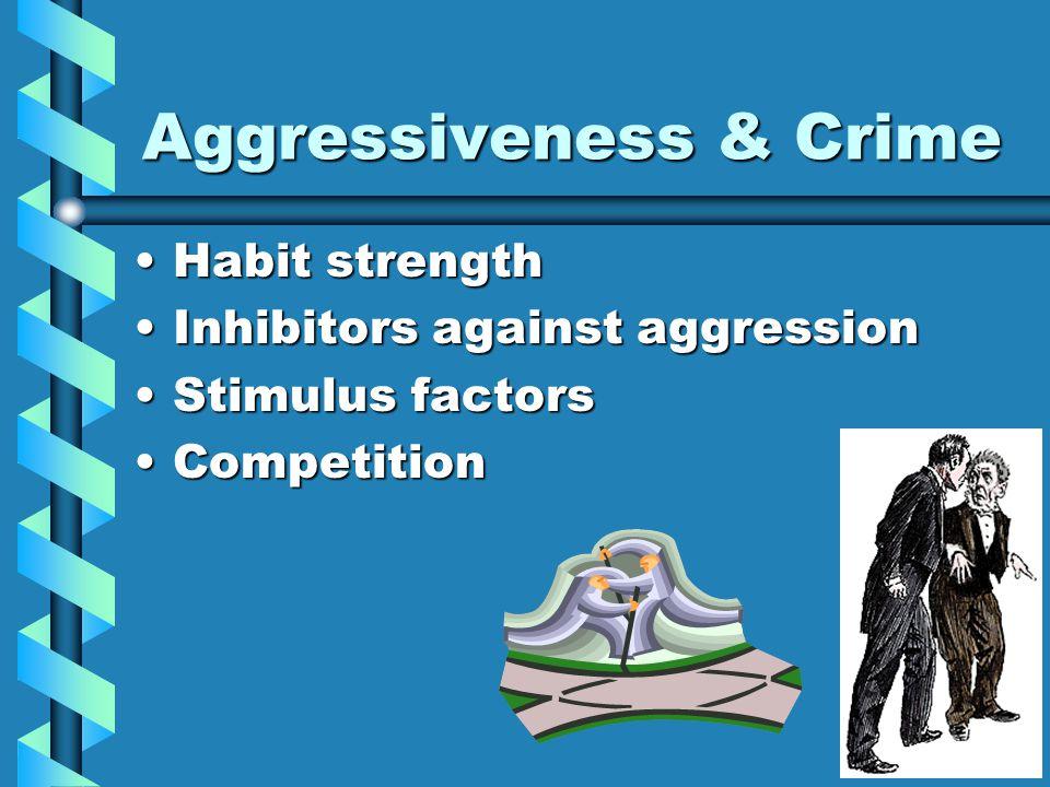 Aggressiveness & Crime Habit strengthHabit strength Inhibitors against aggressionInhibitors against aggression Stimulus factorsStimulus factors Compet