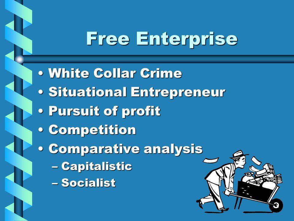 Free Enterprise White Collar CrimeWhite Collar Crime Situational EntrepreneurSituational Entrepreneur Pursuit of profitPursuit of profit CompetitionCo