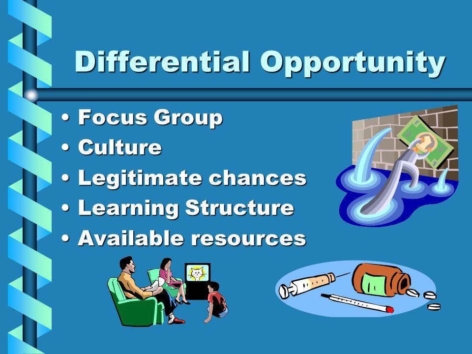 Differential Opportunity Focus GroupFocus Group CultureCulture Legitimate chancesLegitimate chances Learning StructureLearning Structure Available res