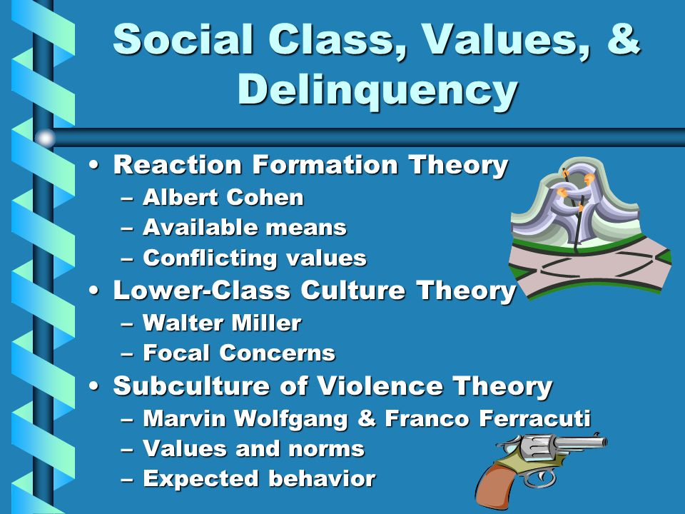 Social Class, Values, & Delinquency Reaction Formation TheoryReaction Formation Theory –Albert Cohen –Available means –Conflicting values Lower-Class Culture TheoryLower-Class Culture Theory –Walter Miller –Focal Concerns Subculture of Violence TheorySubculture of Violence Theory –Marvin Wolfgang & Franco Ferracuti –Values and norms –Expected behavior