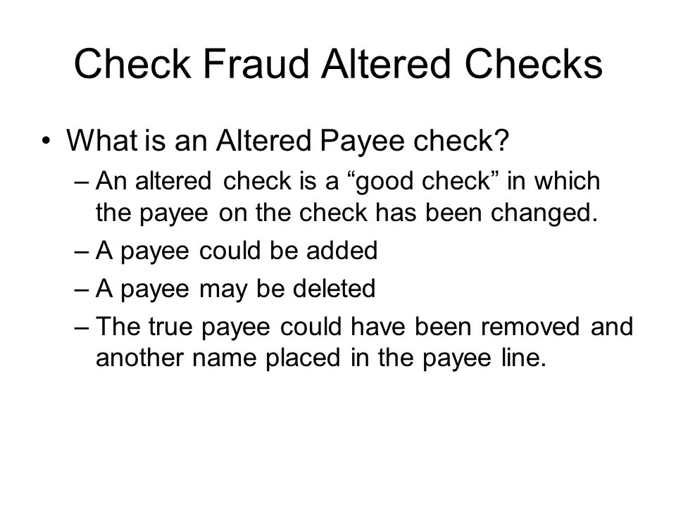 Check Fraud – Theft by Check Theft by check is committed when an individual receives product or services from a bad check .