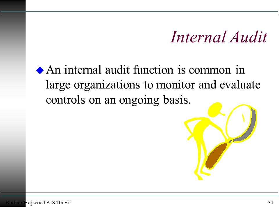 Bodnar/Hopwood AIS 7th Ed31 Internal Audit u An internal audit function is common in large organizations to monitor and evaluate controls on an ongoing basis.