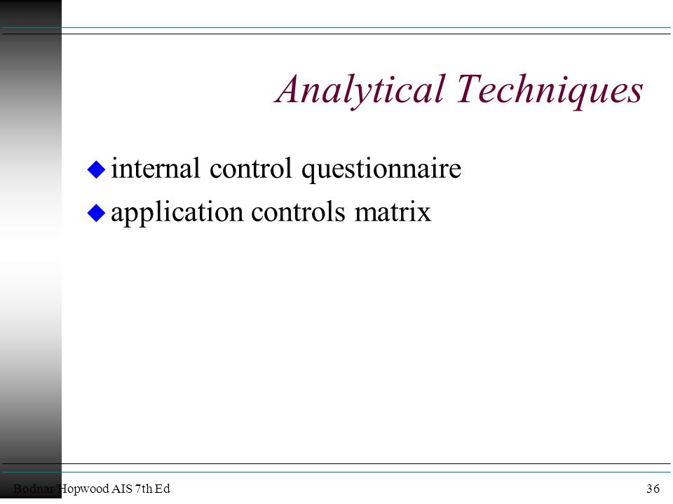 Bodnar/Hopwood AIS 7th Ed36 Analytical Techniques u internal control questionnaire u application controls matrix