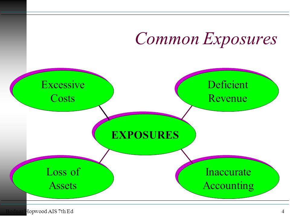 Bodnar/Hopwood AIS 7th Ed4 Common Exposures EXPOSURES Excessive Costs Excessive Costs Deficient Revenue Deficient Revenue Inaccurate Accounting Inaccurate Accounting Loss of Assets Loss of Assets