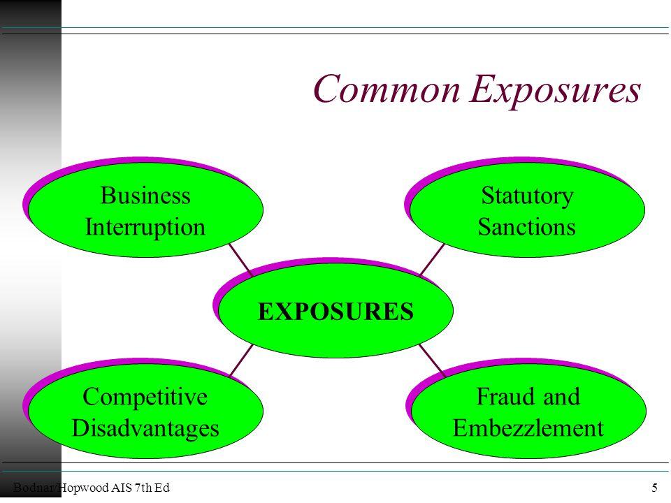 Bodnar/Hopwood AIS 7th Ed5 Common Exposures EXPOSURES Business Interruption Business Interruption Statutory Sanctions Statutory Sanctions Fraud and Embezzlement Fraud and Embezzlement Competitive Disadvantages Competitive Disadvantages