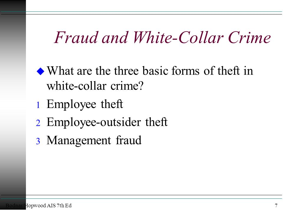 Bodnar/Hopwood AIS 7th Ed7 Fraud and White-Collar Crime u What are the three basic forms of theft in white-collar crime.