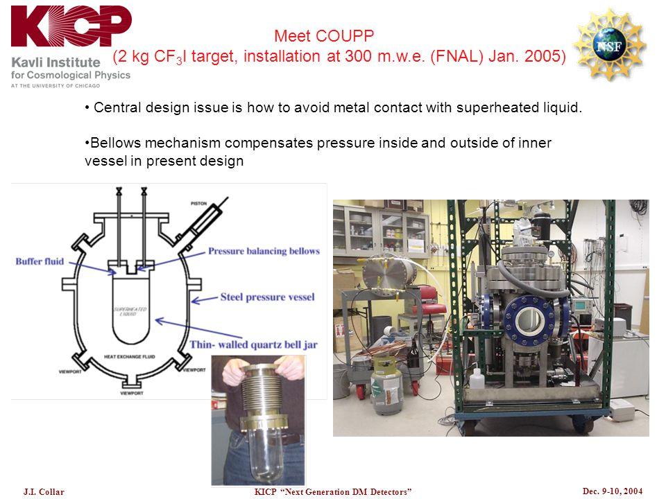"Dec. 9-10, 2004 J.I. CollarKICP ""Next Generation DM Detectors"" Meet COUPP (2 kg CF 3 I target, installation at 300 m.w.e. (FNAL) Jan. 2005) Central de"