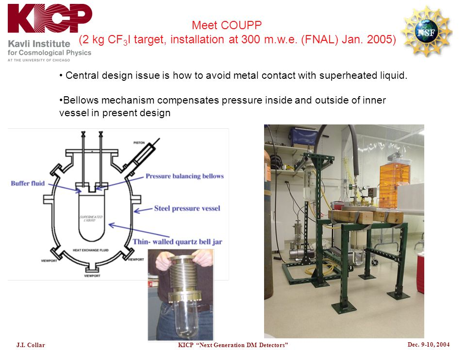"""Dec. 9-10, 2004 J.I. CollarKICP """"Next Generation DM Detectors"""" Central design issue is how to avoid metal contact with superheated liquid. Bellows mec"""