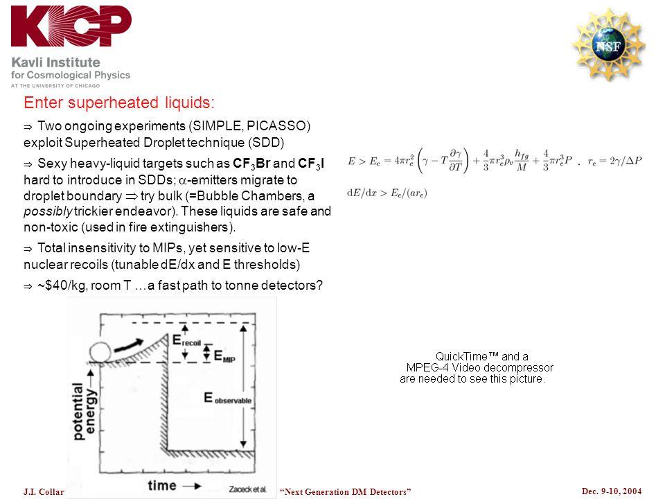"Dec. 9-10, 2004 J.I. CollarKICP ""Next Generation DM Detectors"" Enter superheated liquids:  Two ongoing experiments (SIMPLE, PICASSO) exploit Superhea"