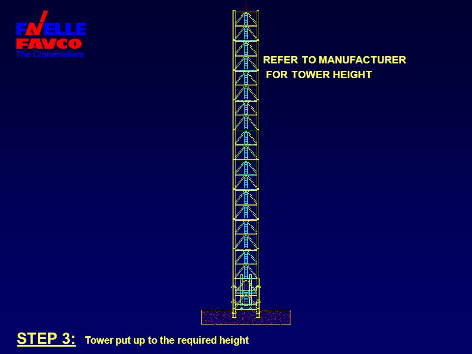 STEP 3: Tower put up to the required height REFER TO MANUFACTURER FOR TOWER HEIGHT