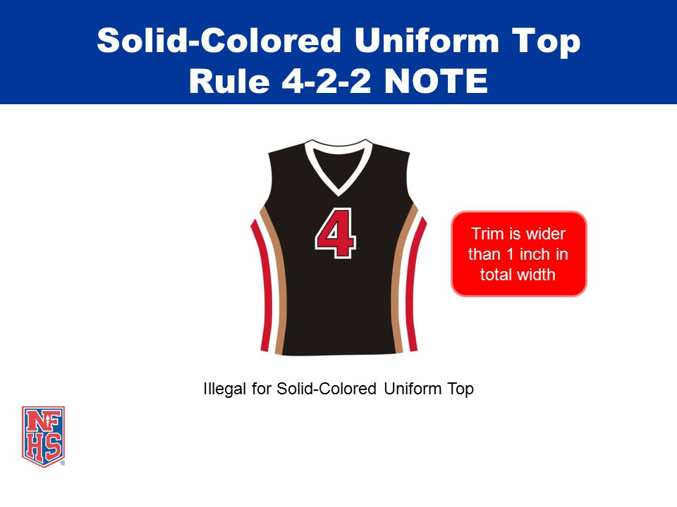 Solid-Colored Uniform Top Rule 4-2-2 NOTE Illegal for Solid-Colored Uniform Top Trim is wider than 1 inch in total width