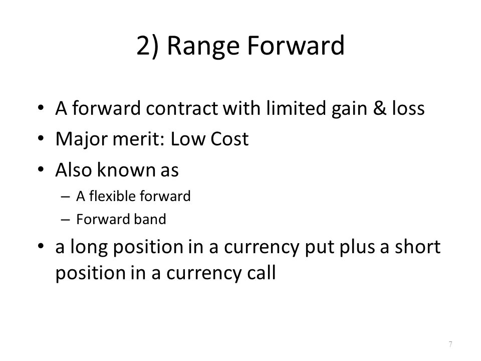 3) Participating Forward Way to eliminate the up-front premium Combine short forward position with Long out-of-money call Short fraction of in-money put 8