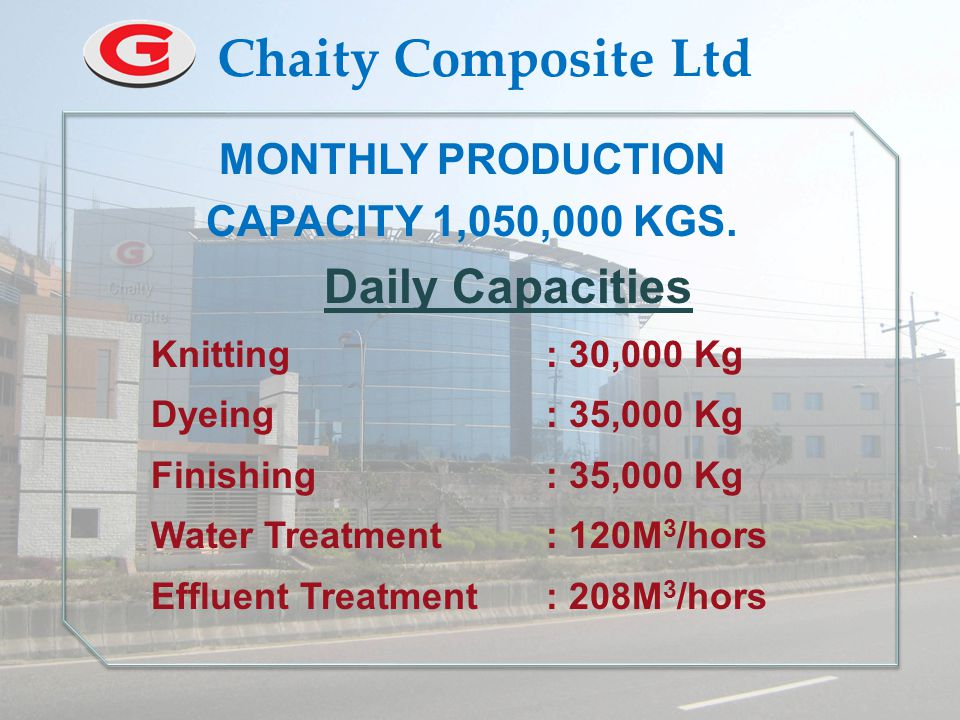  PRODUCTION AREA : 650,000 Sft. MONTHLY PRODUCTION CAPACITY : 03 Million Pcs.