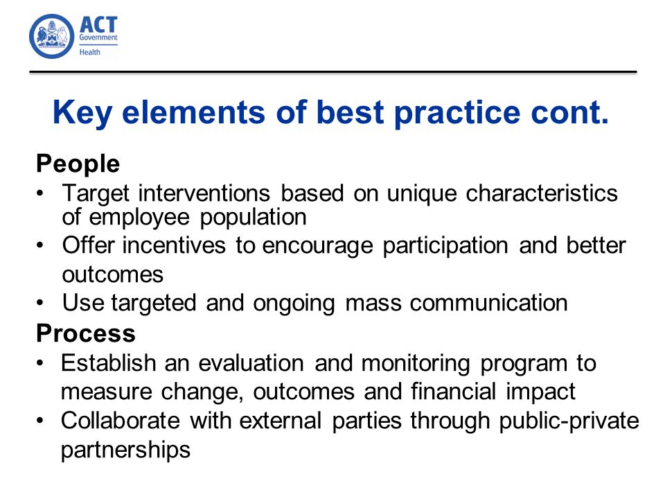 Key elements of best practice cont.
