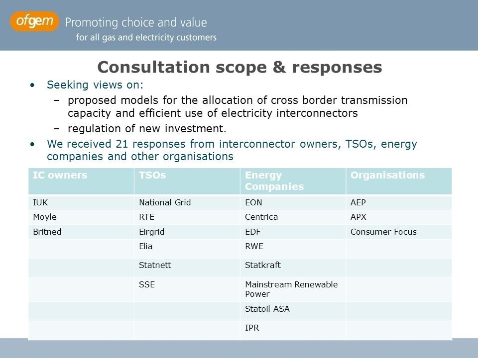 Consultation scope & responses Seeking views on: –proposed models for the allocation of cross border transmission capacity and efficient use of electr