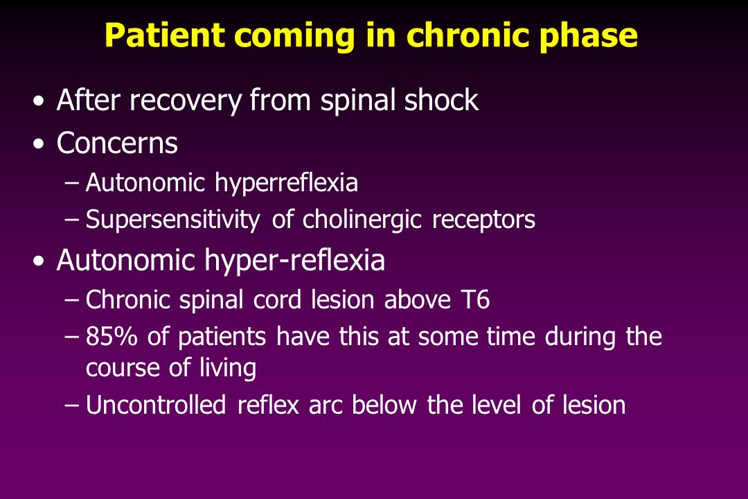 Patient coming in chronic phase After recovery from spinal shock Concerns –Autonomic hyperreflexia –Supersensitivity of cholinergic receptors Autonomic hyper-reflexia –Chronic spinal cord lesion above T6 –85% of patients have this at some time during the course of living –Uncontrolled reflex arc below the level of lesion