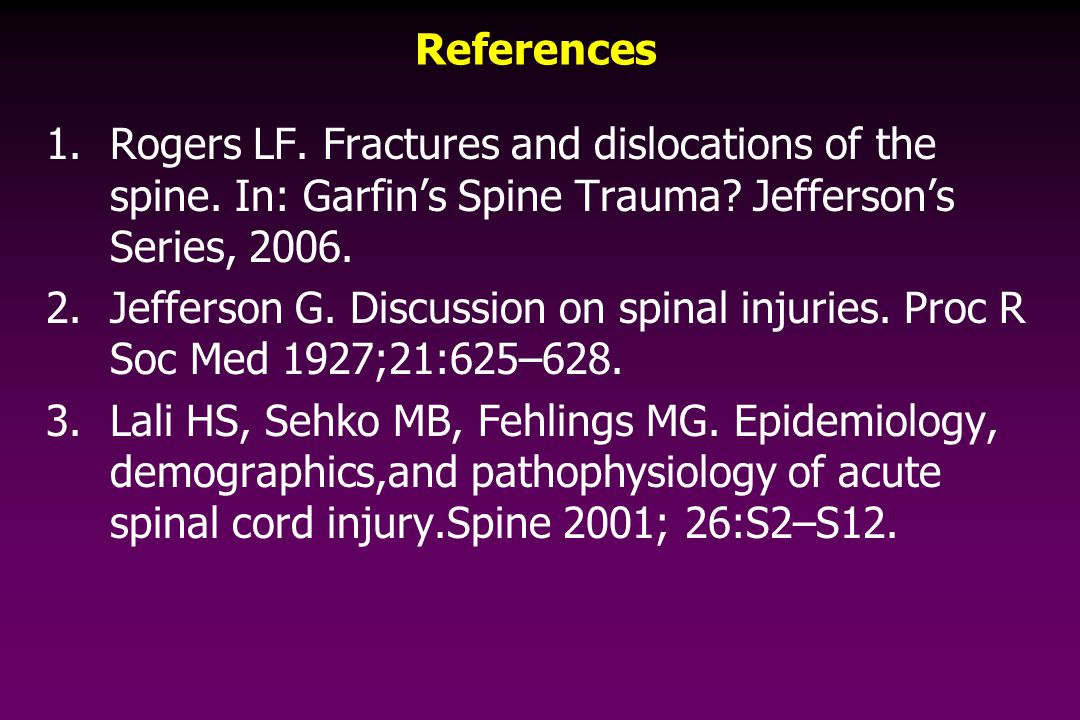 References 1.Rogers LF. Fractures and dislocations of the spine.