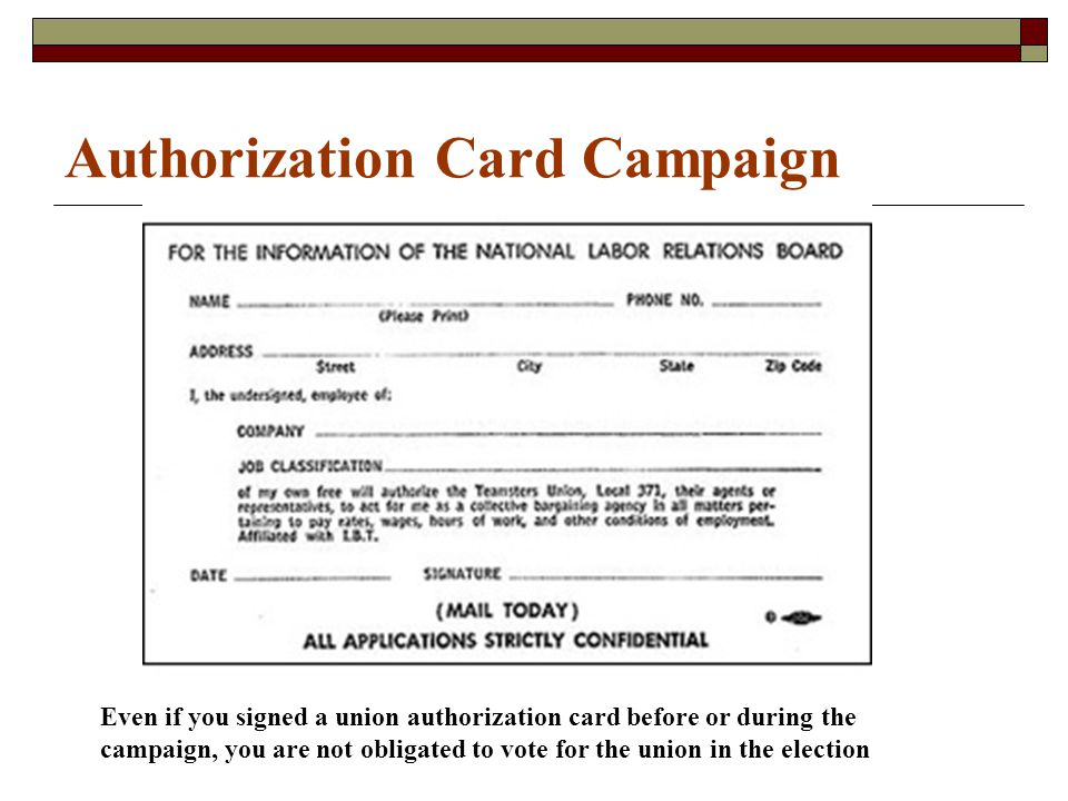 Authorization Card Campaign Even if you signed a union authorization card before or during the campaign, you are not obligated to vote for the union in the election