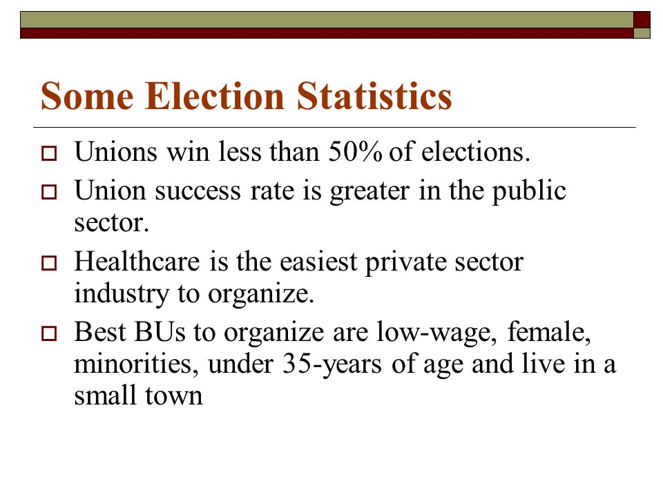Some Election Statistics  Unions win less than 50% of elections.