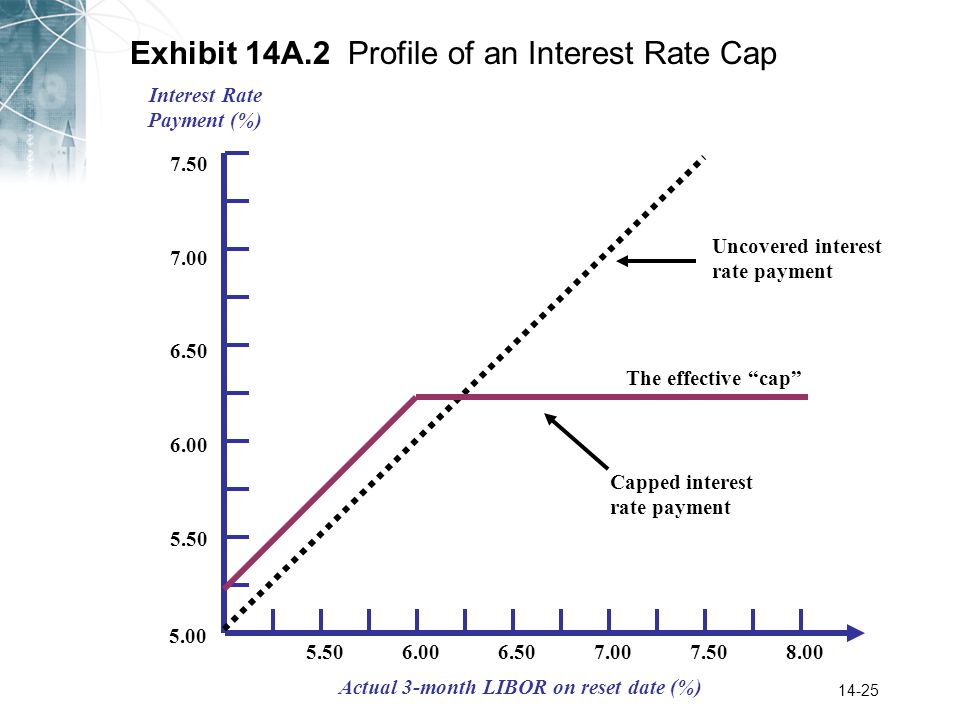 14-25 Exhibit 14A.2 Profile of an Interest Rate Cap Interest Rate Payment (%) Actual 3-month LIBOR on reset date (%) 5.00 5.50 6.00 6.50 7.00 5.506.006.507.508.007.00 7.50 Uncovered interest rate payment Capped interest rate payment The effective cap